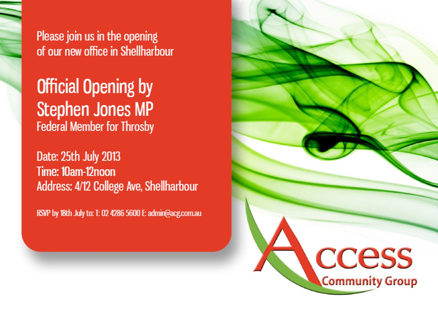 Access Community Group Shellharbour Office Opening invitation