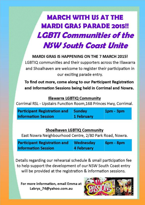 Mardi Gras Parade Registration Day and Rehearsal Flyer