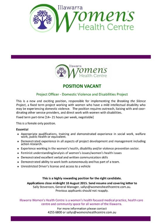 2015-07-23 11_35_53-FW_ IWHC  - Position Vacant PROJECT OFFICER (DV and Disabilities Project) - Mess