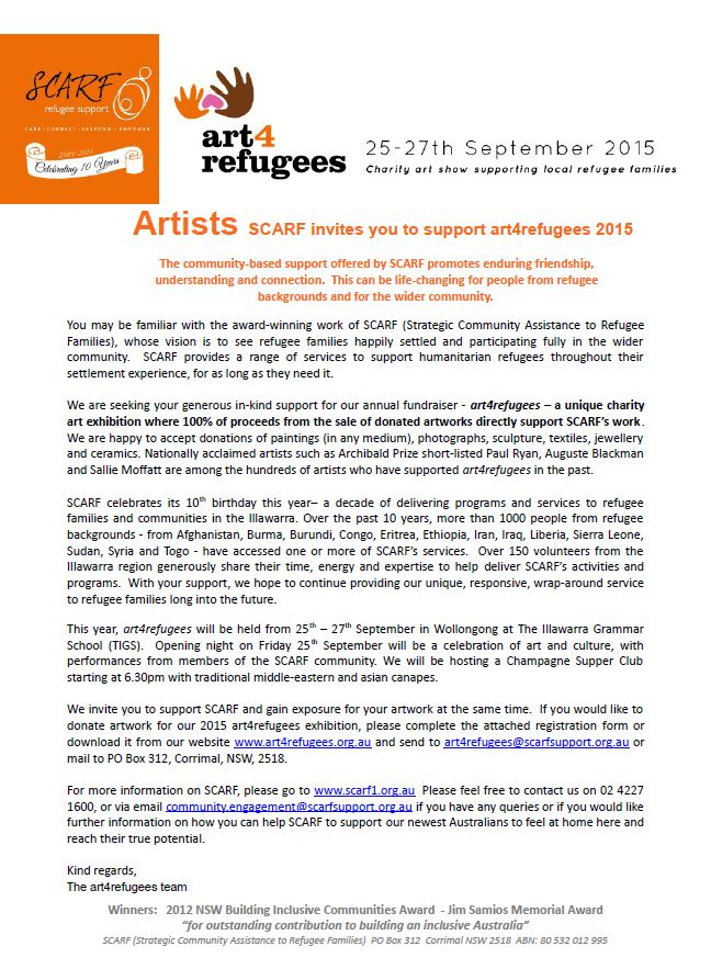 Exhibition illawarra interagency 2015 08 07 083309 invitation letter copy to artists 2015 art4refugees stopboris Image collections