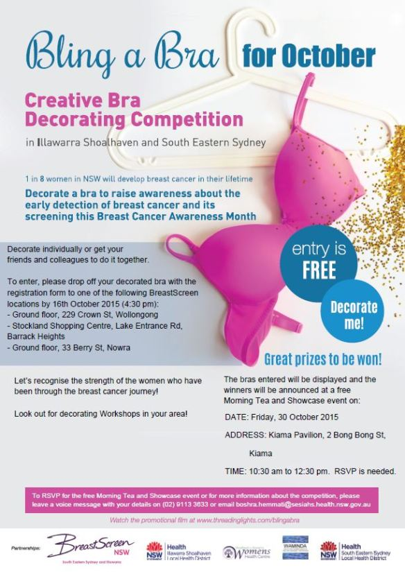 Bling a Bra Poster_CreativeBraDecoratingCompetition_IllawarraShoalhaven2   .pdf