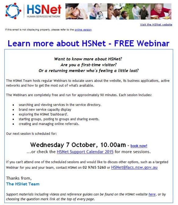 Learn more about HSNet - FREE Webinar - 7 October 2015 - Message (HTML)