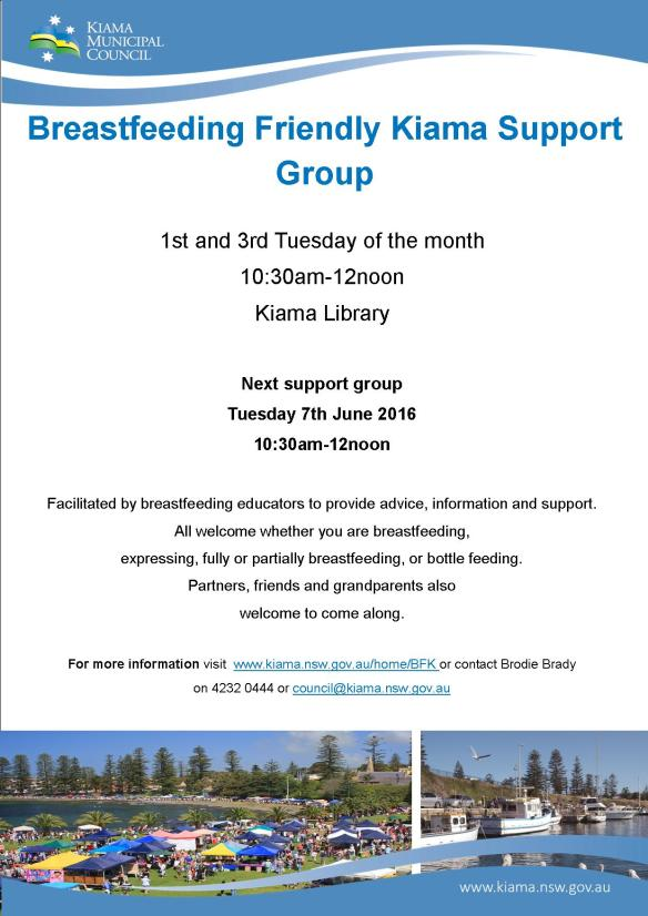 Breastfeeding Friendly Kiama-Support Group Poster