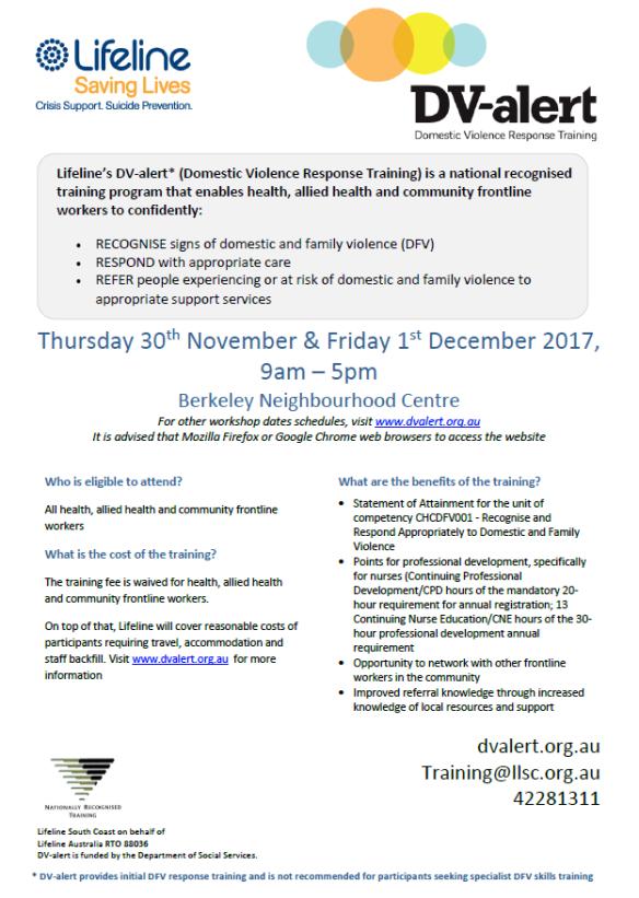 DV-Alert Flyer Wollongong 30th Nov and 1st Dec 2017- Berkeley Neighbourhood Cent